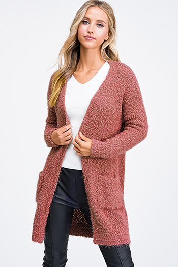 $25 - Cute cheap boho crochet long sleeve top - Rust pink popcorn knit long sleeve open front pocketed boho fuzzy sweater cardigan