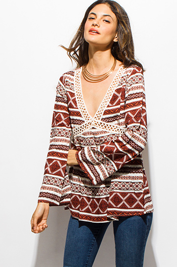 $15 - Cute cheap gauze blouse - rust red abstract ethnic print long bell sleeve crochet trim boho blouse top