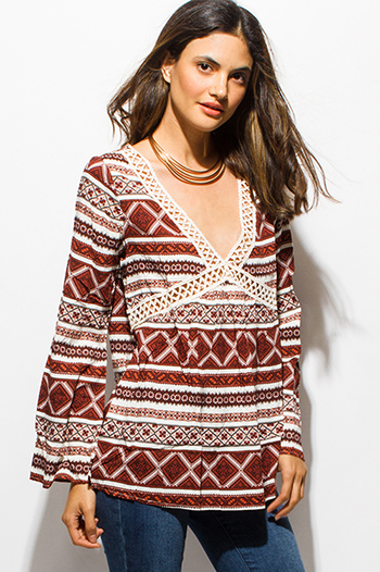 $15 - Cute cheap red chiffon sheer top - rust red abstract ethnic print long bell sleeve crochet trim boho blouse top