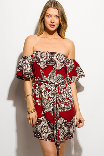 $15 - Cute cheap lace long sleeve dress - rust red abstract regal print off shoulder flutter sleeve tie waist mini dress