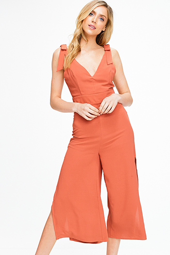 $15 - Cute cheap burgundy red stripe ribbed knit sweetheart neck bustier fitted tank top - Rust red bow strap sleeveless v neck slit wide leg boho culotte jumpsuit