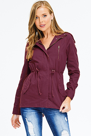 $25 - Cute cheap rust red cotton zip up drawstring waist hooded pocketed cargo anorak jacket