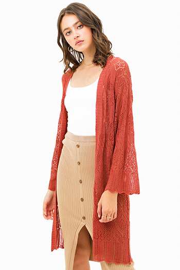 $25 - Cute cheap mocha khaki brown short sleeve scallop crochet lace trim tassel tie front boho top - Rust red crochet long bell sleeve scallop hem open front boho duster cardigan
