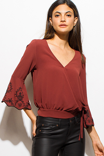 $20 - Cute cheap gauze blouse - rust red embroidered scallop mid bell sleeve tie waist crop blouse top