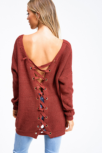 $30 - Cute cheap slit bodycon sweater - Rust red knit long sleeve v neck caged laceup back boho tunic sweater top