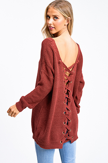 $20 - Cute cheap boho crochet long sleeve top - Rust red knit long sleeve v neck caged laceup back boho tunic sweater top