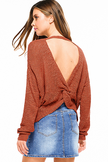 $20 - Cute cheap leopard print strapless open back soft chiffon crop top - Rust red knit long sleeve v neck twist knotted cut out back boho sweater top