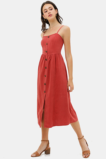 $30 - Cute cheap v neck sun dress - Rust red linen sleeveless button trim boho midi sun dress