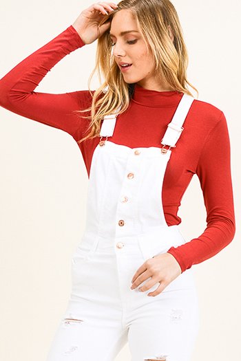 $10 - Cute cheap v neck blouse - Rust red long sleeve fitted mock neck basic knit top