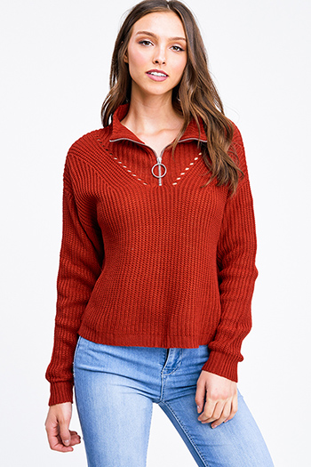 $15 - Cute cheap chiffon top - Rust red mock neck quarter zip up boho retro ribbed sweater top