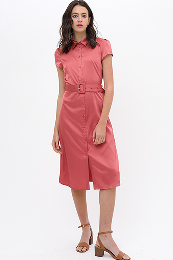 $32 - Cute cheap v neck sun dress - Rust red satin short sleeve belted button up boho midi shirt dress