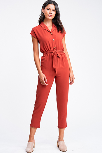 $25 - Cute cheap mustard yellow ruffle tiered apron front button trim wide leg boho culotte jumpsuit - Rust red short sleeve button up belted boho harem tapered leg jumpsuit