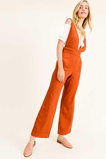 $25 - Cute cheap tan beige stripe sleeveless sailor tie front pocketed wide leg boho jumpsuit - Rust red twill denim a-line wide leg pocketed zip up back boho overalls jumpsuit