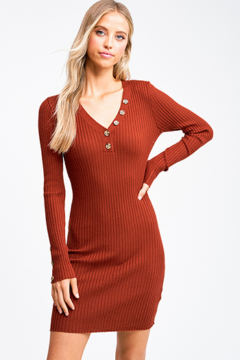 $25 - Cute cheap ruched sexy club mini dress - Rust ribbed v neck button detail boho fitted bodycon sweater midi dress