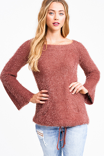 $25 - Cute cheap rust red thermal knit long sleeve crop boho button up top - Rust rose long bell sleeve drawstring hem pocketed fuzzy knit boho sweater top