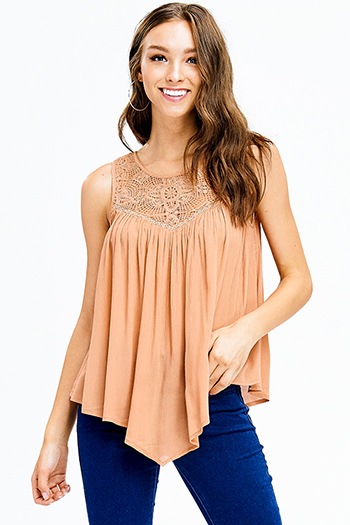 $15 - Cute cheap black tiered layered sleeveless pleated contrast blouse tank top - rust tan cotton crochet lace asymmetric hem sleeveless sexy party boho top