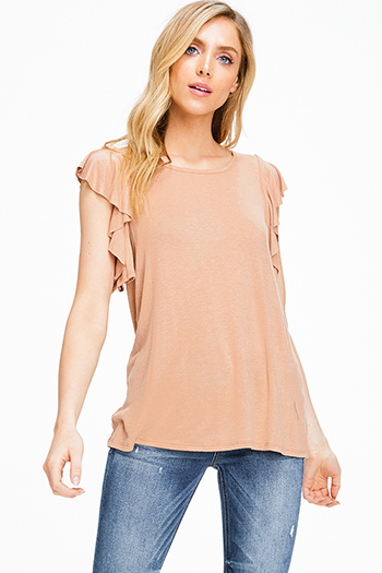 $15 - Cute cheap khaki tan off shoulder wide short sleeve crochet applique criss cross boho blouse top - Rust tan cut out ruffled sleeve round neck boho top