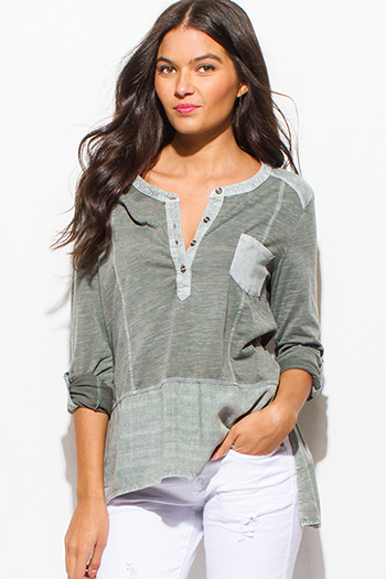 $15 - Cute cheap black checker plaid flannel long sleeve button up blouse top - sage green color block high low hem long sleeve boho top