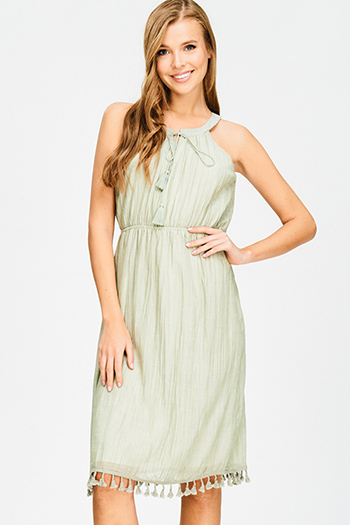 $15 - Cute cheap fitted cocktail mini dress - sage green cotton blend gauze tassel tie fringe trim sleeveless empire waist resort boho midi sun dress