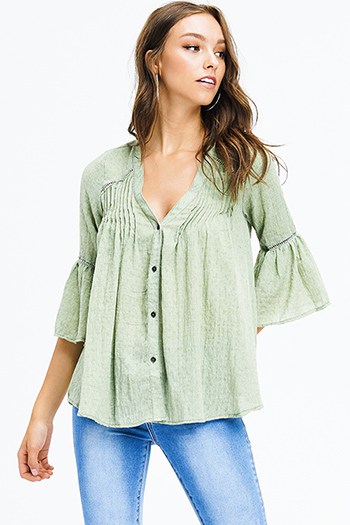 $15 - Cute cheap blue chambray blouse - sage green cotton blend textured quarter bell sleeve resort boho button up blouse top