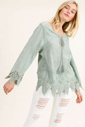 $15 - Cute cheap white houndstooth textured cut out twist knot cold shoulder long sleeve boho blouse top - Sage green cotton embroidered laceup front scallop crochet lace hem boho blouse top