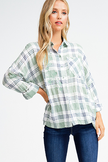 $15 - Cute cheap pink navy multicolor plaid cotton gauze long sleeve button up blouse top - Sage green cotton plaid embroidered button up long dolman sleeve boho top