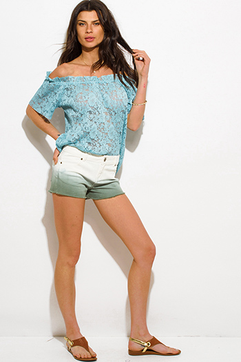 $10 - Cute cheap green pants - sage green denim ombre washed mid rise cutoff jean shorts