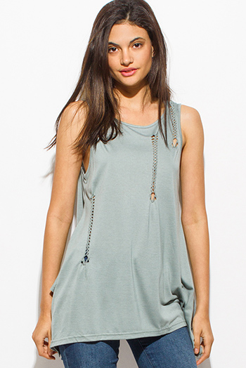 $15 - Cute cheap sheer boho top - sage green distressed braided boho sexy party tank top
