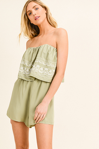 $13 - Cute cheap mustard yellow ruffle tiered apron front button trim wide leg boho culotte jumpsuit - Sage green embroidered strapless tiered boho romper playsuit jumpsuit