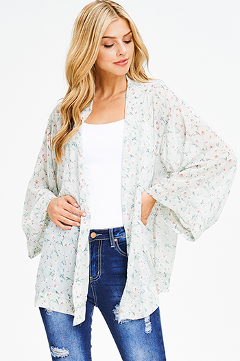$15 - Cute cheap print open back jumpsuit - sage green floral print chiffon boho long kimono bell sleeve blazer cardigan top