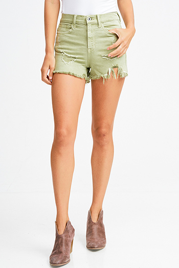 $20 - Cute cheap green pocketed jacket - Sage green high waisted denim cut off hem boho distressed shorts