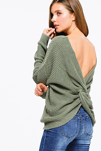 $25 - Cute cheap dusty navy blue acid washed knit long sleeve laceup front sweater top - sage green knit long sleeve v neck twist knotted back boho sweater top