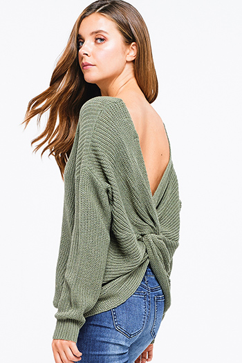$25 - Cute cheap print boho sweater - sage green knit long sleeve v neck twist knotted back boho sweater top