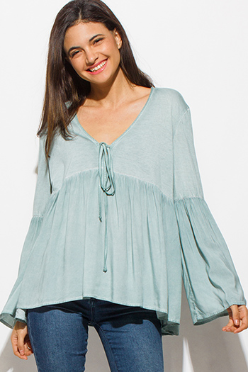 $15 - Cute cheap stripe boho romper - sage green long tiered bell sleeve keyhole tie front empire boho top