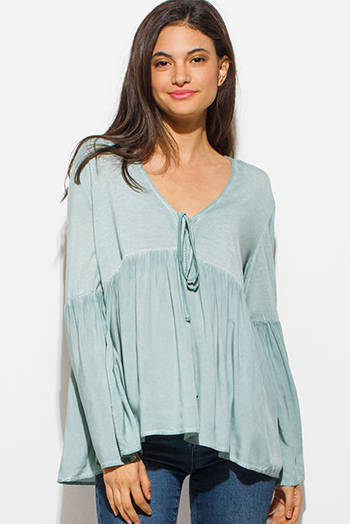 $15 - Cute cheap blue stripe embroidered quarter sleeve button up boho blouse pinstripe top - sage green long tiered bell sleeve keyhole tie front empire boho top
