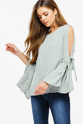 $12 - Cute cheap taupe beige floral print v neck quarter length bell sleeve tie front boho crop blouse top - Sage green ribbed knit slit tie long bell sleeve boho top