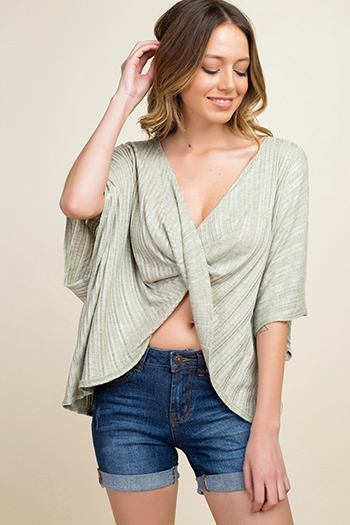 $15 - Cute cheap khaki tan off shoulder wide short sleeve crochet applique criss cross boho blouse top - Sage green ribbed knit surplice twist front short dolman sleeve boho top