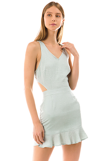 $30 - Cute cheap crochet dress - sage green snake animal textured sleeveless cut out open back ruffle hem sexy club mini dress