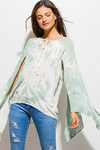 $20 - Cute cheap bright aqua blue rayon gauze off shoulder bell sleeve tassel fringe boho blouse top - sage green tie dye long slit angel bell sleeve peasant boho top