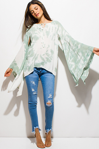$15 - Cute cheap white and blue tie dye print long dolman sleeve button up boho blouse top - sage green tie dye long slit angel bell sleeve peasant boho top