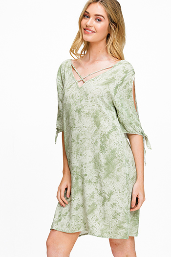 $15 - Cute cheap white floral print ruffle short sleeve pocketed boho mini dress - Sage green tie dye v neck caged slit tie short sleeve open back boho shift mini dress