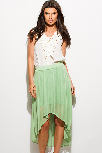 $8 - Cute cheap mesh high neck catsuit - sage green tulle mesh overlay high low hem midi skirt