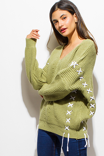 $12 - Cute cheap taupe beige laceup front faux flap pocket long sleeve boho blouse top - sage green v neck long sleeve laceup crochet oversized sweater knit tunic top