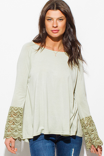 $15 - Cute cheap ivory white crochet lace panel long blouson sleeve button up boho blouse top - sage mint green cotton blend long crochet lace bell sleeve boho top