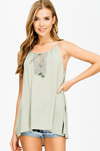 $15 - Cute cheap dusty blue and abstract print strapless open back soft chiffon crop top - sage olive green crochet tassel tie racer back boho peasant tank top