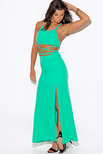 $20 - Cute cheap black chiffon deep v neck double high slit sleeveless evening sexy party maxi dress - mint green high slit crepe evening cocktail party maxi two piece set dress