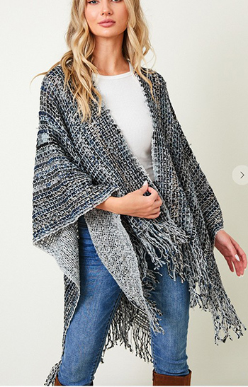 $23.50 - Cute cheap shawl wrap sweater with wide stripe1602854869637 - shawl wap sweater with multie stripe