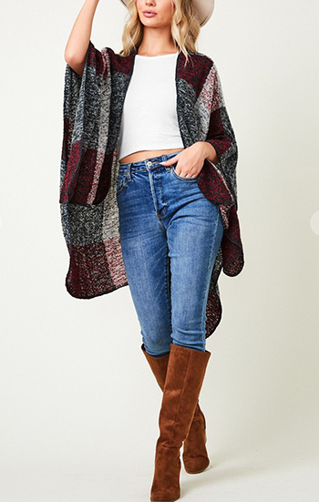 $16.50 - Cute cheap shawl wrap sweater with color block