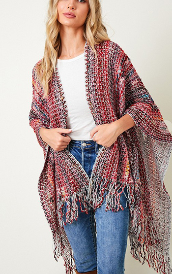 $23.50 - Cute cheap Shawl Wrap Sweater with Multi Stripe