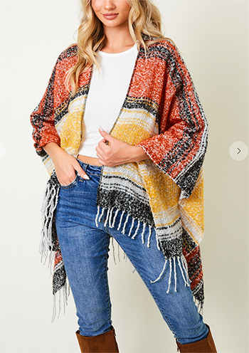 $15.00 - Cute cheap Shawl Wrap Sweater with Wide Stripe.